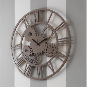 Orologio da parete Rotondo diametro 70 cm in legno INGRANA tagliato al laser in legno Colore Tortora