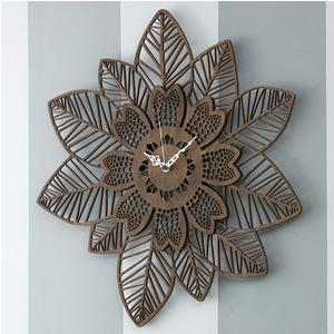 Orologio da parete in legno foglie e fiori tagliati a laser 55x55x5 cm in legno colore wengè