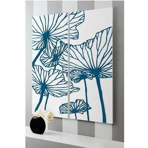 Pannelli da parete, quadro da parete DELICATESSE 100xh120cm in legno verticale bianco intarsi in legno color petrolio