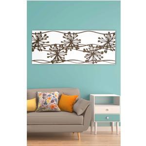 Pannello da parete, quadro da parete ANEMONI 120xh50cm orizzontale pannello colore bianco intarsi e marcatura in legno tortora