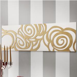 Pannello da parete, quadro da parete ROSES 120xh40cm orizzontale pannello colore bianco intarsi in legno foglia oro
