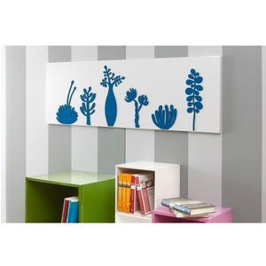 Pannello da parete, quadro da parete SAHARA 120xh40cm pannello orizzontale colore bianco intarsi in legno colore petrolio