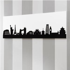 Pannello da parete, quadro da parete SKYLINE120xh40cm orizzontale pannello colore bianco intarsi in plexiglass NERI
