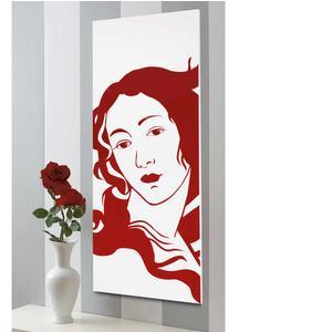 Pannello da parete, quadro da parete venere 50xh120cm pannello legno colore bianco intarsi in plexiglass rosso