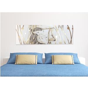 Pannello da parete orizzontale, quadro capezzale letto DEA 150xh50 pannello legno colore bianco intarsi in legno e marcatura Foglia oro