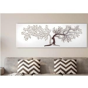 Pannello da parete, quadro capezzale letto moderno LIFE 150xh50cm pannello orizzontale colore bianco intarsi in legno e marcatura colore cacao