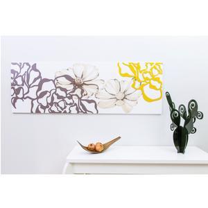 Pannello da parete, quadro da parete PEONIA 150xh50cm orizzontale pannello colore bianco intarsi e marcatura in legno