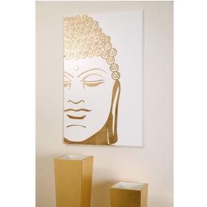 Pannello da parete, quadro da parete Buddha 75xh120cm pannello legno verticale colore bianco con intarsi colore oro