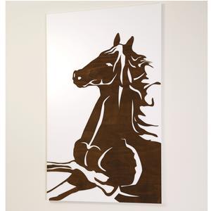 Pannello da parete, quadro da parete CAVALLO RAMPANTE 75xh120cm verticale pannello colore bianco intarsi e marcatura in legno