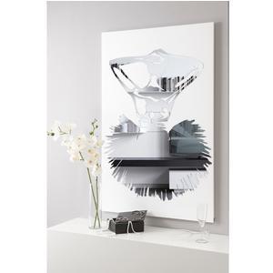 Pannello da parete, quadro da parete GISELLE 75xh120cm pannello legno colore bianco intarsi in plexiglass specchio