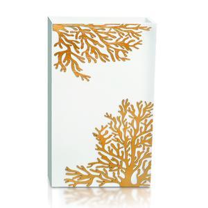 PORTAOMBRELLI Rettangolare, CORALLO 33x20xh54 cm in Legno bianco con intarsi al laser legno ORO