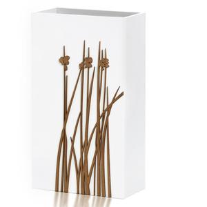 PORTAOMBRELLI Rettangolare, THIPA 33x20xh54 cm in Legno bianco con intarsi al laser legno wengè