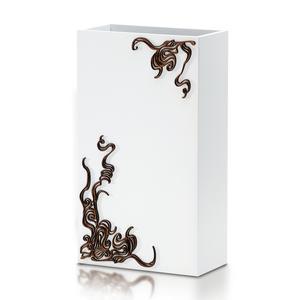 PORTAOMBRELLI Rettangolare, Vento 33x22xh53 cm in Legno bianco con intarsi al laser legno wengè