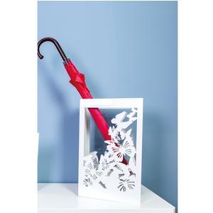 Portaombrelli Rettangolare VOLO DI FARFALLE 30x15xh50 cm in Legno tagliato al laser colore ghiaia