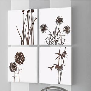 Set Pannelli da parete in legno con intarsi in legno ASIA 4 pezzi 100x100xh1,5 cm legno di faggio colore Wengè