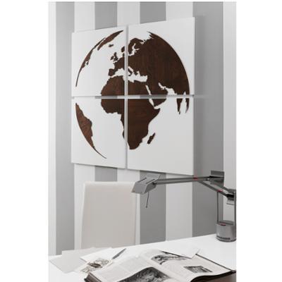 Set Pannelli da parete in legno con intarsi in legno Linea Globo 4 pezzi 100x100xh1,5 cm legno di faggio colore Wengè