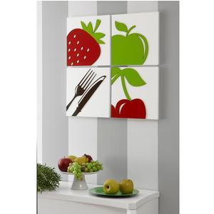 Set Pannelli da parete in legno con intarsi in legno Linea Golosità pezzi 60x60xh1,5 cm legno di faggio colore multicolor