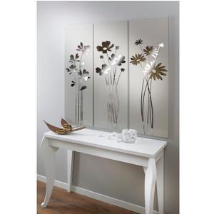 Pannello da parete, quadro da parete TRIS FIORI DEL RE 120xh120cm pannello legno colore sabbia intarsi in plexiglass specchio