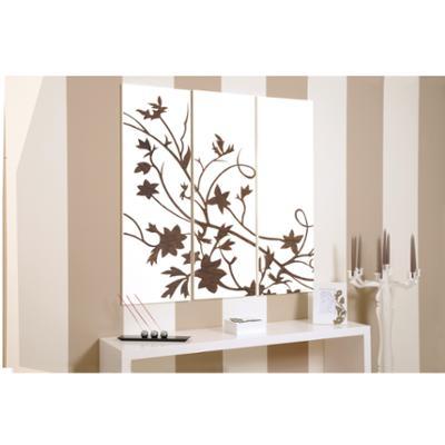 Tris Pannelli da parete in legno CELTICO 120xh120 cm pannellI colore bianco intarsi in legno colore wengè