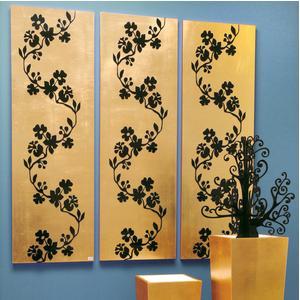 Pannelli da parete tris SAKURA 75xh120cm in legno colore oro intarsi in legno colore nero