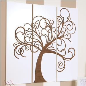 Pannelli da parete tris L'albero della vita 120xh120cm in legno colore bianco con intarsi colore wengè