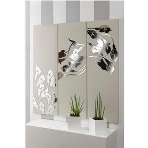 Pannello da parete, quadro da parete TRIS INCANTESIMO 120xh120cm pannello legno colore sabbia intarsi plexiglass specchio