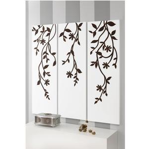 Pannelli da parete tris EDEN 120Xh120cm in legno colore Bianco intarsi in legno colore wengè