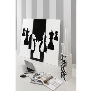 Pannello da parete, quadro da parete TRIS SCACCO MATTO 120xh120cm pannello legno colore bianco intarsi in plexiglass