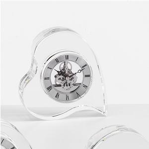 Orologio Cristallo, sveglia da tavolo Cuore 14xh15 cm in cristallo K9 trasparente