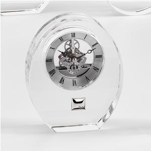 Orologio in Cristallo Blasone argento, sveglia da tavolo 13xh16 cm in cristallo K9 trasparente