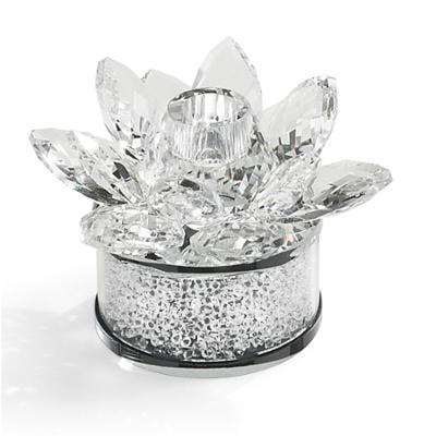 Porta candele in cristallo fiore K9 con base 9x9x h 7 cm colore trasparente