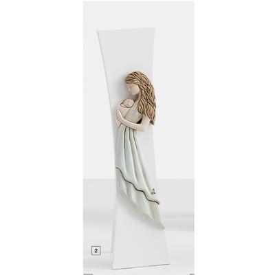 Crocefisso Madonna con bimbo Bicolor in resina colorata Medio in resina e legno h30x8 cm colore multicolor