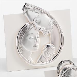 Quadro sacro, base in legno ed immagine in argento, Sacra Famiglia 12,5x13 cm immagine sacra, ideale come bomboniera, può essere appeso o appoggiato