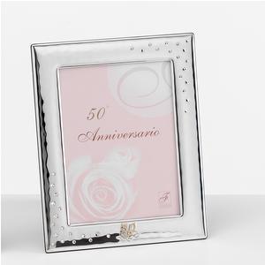 Portafoto 50 anni anniversario interno 9x13 cm PER FOTO in argento da appoggio con strass cristalli