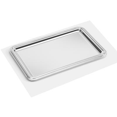 Vassoio rettangolare in argento stile impero bordo liscio 29x42 cm bordo con finitura argento 10 micron