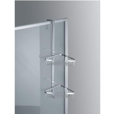 Angolare 2 piani per fissaggio telaio box doccia in ottone cromato 22x16,5xh60 cm garantita 5 contro la corrosione