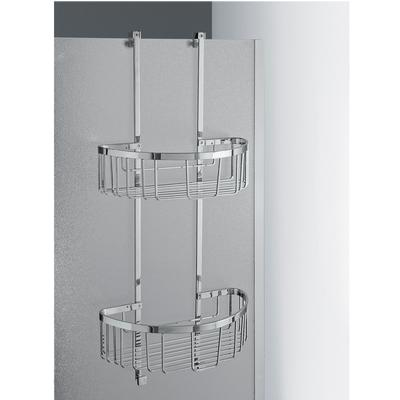 Mensola doccia semicircolare due piani - Fissaggio a Vetro Box Doccia, 28x15xh65 cm ottone cromato spessore Max. Vetro 1,5 cm