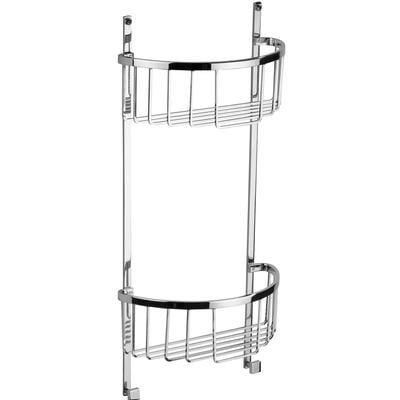 Mensola doccia semicircolare due piani - Fissaggio a Parete, 23,5x12xh49 cm ottone cromato spessore con stop e viti