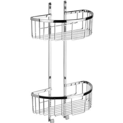 Mensola doccia semicircolare due piani - Fissaggio a Parete, 28x14xh49 cm ottone cromato spessore con stop e viti