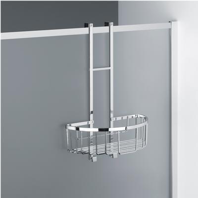 Mensola doccia rettangolare un piano - Fissaggio a TELAIO Box Doccia, 28x15xh42 cm ottone cromato spessore Max. Vetro 3 cm