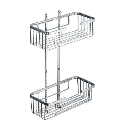 Mensola doccia un due piani - Fissaggio a Parete 27x12xh49 cm ottone cromato altezza griglia 8 cm cromo