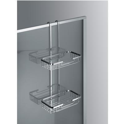 Mensola doccia un due piani - Fissaggio a Vetro Box Doccia 26x12xh65 cm ottone cromato spessore Max. Vetro 1,5 cm