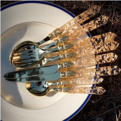 Servizio Posate colorate 24 Pezzi LUNA DORATO in acciaio inox 18/10 manico in metacrilato spessore 1,5 mm colorato oro