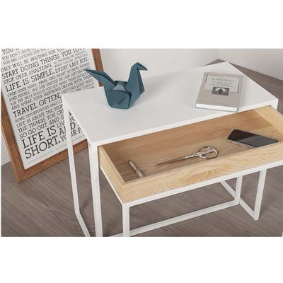 Tavolino Consolle multifunzione da salotto 60x30xh50 cm AMBROGIO acciaio e frassino colore bianco ral 9016