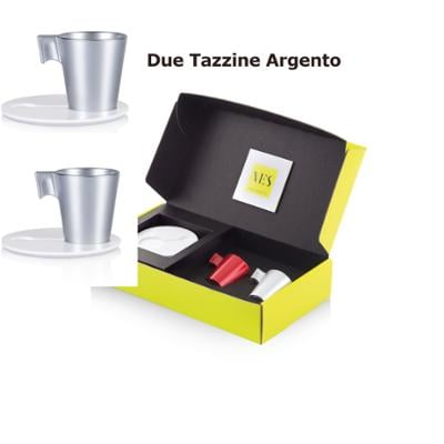 Tazzina da caffè Espresso KLIN Caffè Art con pattino in KRION e tazzina in vetro set da due pezzi colore Argento
