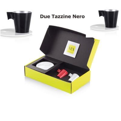 Tazzina da caffè Espresso KLIN Caffè Art con pattino in KRION e tazzina in vetro set da due pezzi colore Nero