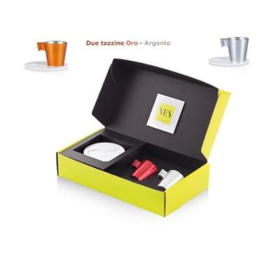 Tazzina da caffè Espresso KLIN Caffè Art con pattino in KRION e tazzina in vetro set da due pezzi colore Oro e Argento