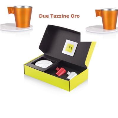 Tazzina da caffè Espresso KLIN Caffè Art con pattino in KRION e tazzina in vetro set da due pezzi colore Oro
