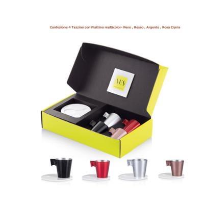 Tazzina da caffè Espresso KLIN Caffè Art con pattino in KRION e tazzina in vetro set da quattro pezzi colore Nero , Rosso, Argento , Rosa Cipria