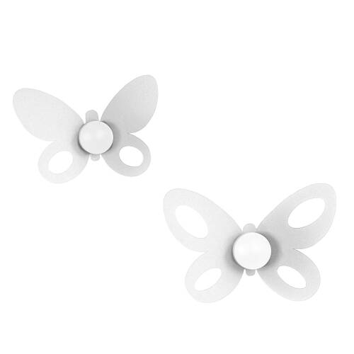 Set Ganci Butterfly 2pz in metallo, 24x16h+21x14h, colore Bianco Neve